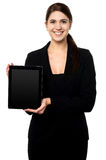 Female presenting brand new tablet pc Stock Photography