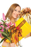 Female presents boxes flowers Stock Photo