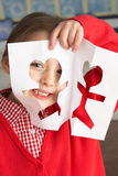 Female Primary School Pupil Cutting Out Shapes Royalty Free Stock Photography