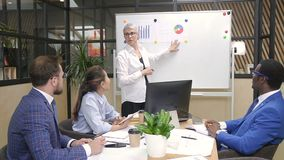 Female professional leading briefing in modern office. stock footage