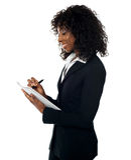 Female professional preparing report Royalty Free Stock Photo