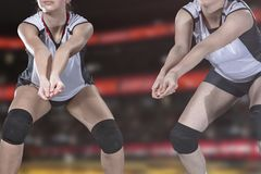 Female professional volleyball player on volleyball court stock photo