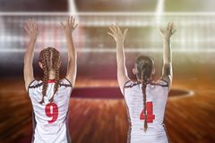 Female professional volleyball player on volleyball court Stock Image