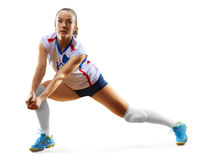 Female professional volleyball player  on white Stock Image