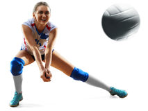 Female professional volleyball player on white. Background royalty free stock image