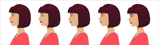 Female profile avatar expressions set. Woman facial profile emotions from sadness to happiness. Royalty Free Stock Photography