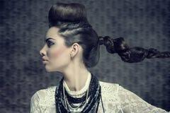 Female profile with creative look Stock Photos