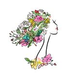 Female profile with floral hairstyle for your Stock Image