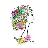Female profile with floral hairstyle for your Stock Photography