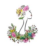Female profile with floral hairstyle for your Royalty Free Stock Image