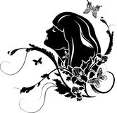 Female profile with flowers. And butterfly. stencil Royalty Free Stock Photo