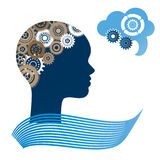 Female profile gears. Womans profile with gears - brain concept speech bubble Stock Photo