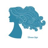 Female profile with long curly hair Stock Photos
