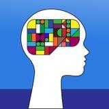 Female profile puzzle brain Stock Photo