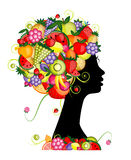 Female profile silhouette, hairstyle with fruits Stock Photo