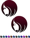 Female profile, symbol of female hairstyles Stock Photos