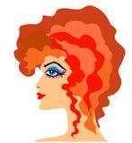 Женский профиль. Профиль женщины с ультраяркий волос. Векторные иллюстрации Stock Images