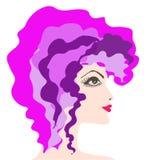 Женщина profile.1. Профиль женщины с ультраяркий волос. Векторные иллюстрации Stock Photography