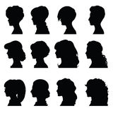 Female profiles with different hairstyles Stock Image