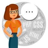 A female programmer, computer geek, coder, support call center. Stock Photos