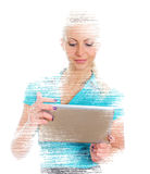 Female programmer with tablet pc. Female programmer with tablet pc on white background Royalty Free Stock Image