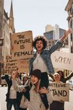 Group of women protesting outdoors royalty free stock photos