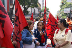 Female protesters with red flags Royalty Free Stock Photography