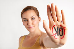 Female Protestor With No Written On Palm Stock Image