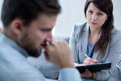 Female psychotherapist at work Stock Image