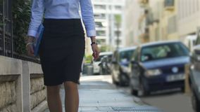 Female public defender hurrying to court hearing to represent clients interests. Stock footage stock footage