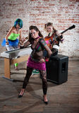 Female punk rock band. Young all girl punk rock band trio Royalty Free Stock Photo