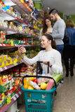 Female purchasing food Royalty Free Stock Photography