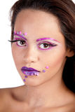 Female with purple and pink makeup Stock Photo