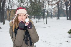 Female putting on makeup in winter. Girl putting on makeup outdoors in the snow Stock Images