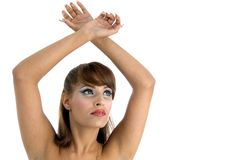Female with raised arms stock images