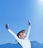 Female with raised hands Stock Images