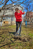 Female with rakes Royalty Free Stock Photo
