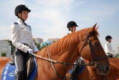 Female Ranger. Patrolling on Renmin Square Dalian, China Royalty Free Stock Images