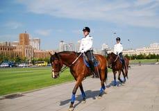 Female Ranger. Patrolling on Renmin Square Dalian, China Stock Photography