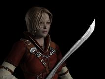 Female Ranger Portrait. Portrait of a female ranger in leather armour carrying a decorated sword against a dark background, 3d digitally rendered illustration Stock Images