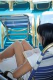 Female Reading. Female on cruise ship Royalty Free Stock Photography