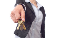 Female real estate agent keys Royalty Free Stock Image