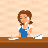 Female receptionist is taking a call vector illustration