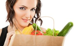 Female recycled grocery bag Royalty Free Stock Images