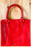 Female red bag from a genuine leather Stock Photo