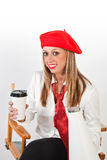 Female in Red Beret Stock Images