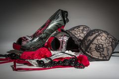Female red and black underwear Royalty Free Stock Images