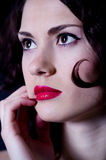 Female red gloss lips with hands Stock Images