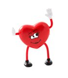 Female Red Heart Shape. Valentine day female heart shape waving happily stock photos