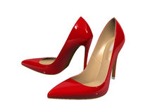 Female red high-heeled shoes Royalty Free Stock Photos